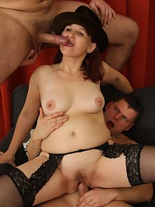 Black Stocking Red Headed Bitch Rammed Hard By Two Young Guys