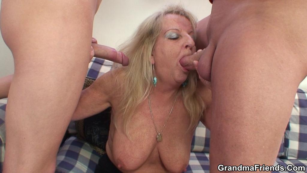 Facial Mature Threesome Hd - Naughty Granny Gets Huge Facial and Fucked Hard in Threesome