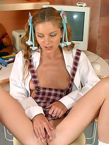 Curly Haired Sexy Blonde Babe Shows Her Sex Action in the Study Room