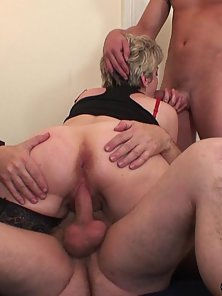 Stocking Wore Blonde Granny Sucks and Fucked By Two Meaty Cocks