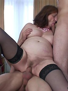 Stocking Wore Busty Granny Gets Squeezing and Penetrated by Two Hunky Guys