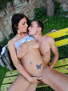 Suitable Brunette Alina Gets Licked and Enjoys Deep Pounding at Outdoor
