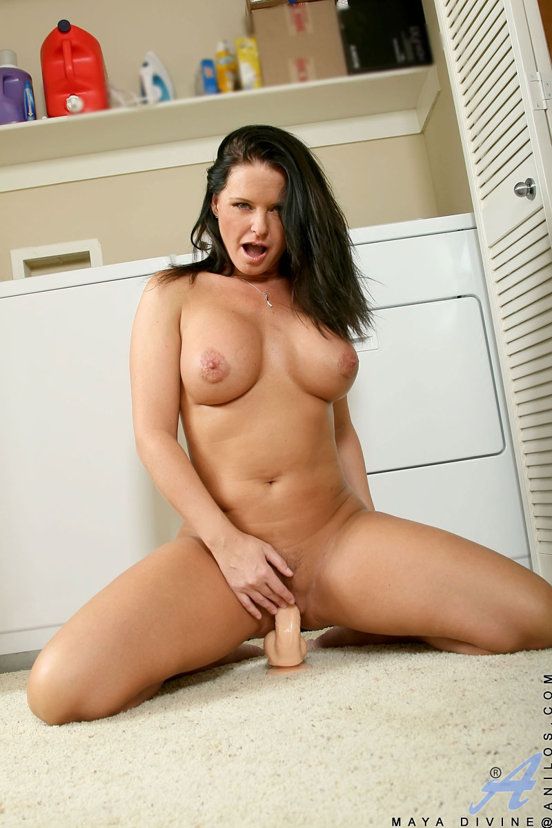 Busty brunette maya divine rubs her boob and fucked large dildo