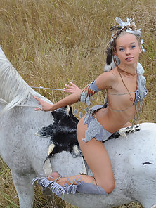 Extremely Sensual Petite Teen Girl Rides a Horse and Artistically Shows Off Her Amenities