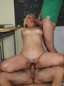 Naughty Blonde Granny Gets Huge Slammed by Two Young Dicks in Hairy Cunt
