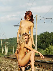 Two Gorgeous Horny Babes Enjoying Lesbian Sex on Railway Track