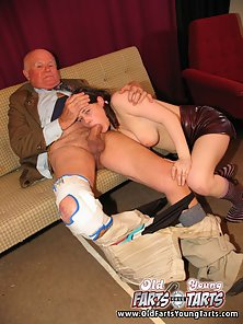 Hunky Grandpa Is Crazily Squeezing Pigtailed Brunette Tits and Fucked Hard