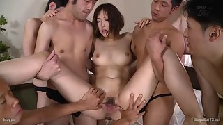 Dazzling Asian in Red Panty Gets Gang Banged with Excitement