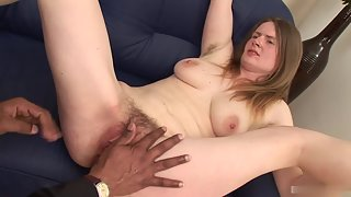Blonde Babe Having Hairy Pussy Got Deep Fuck by Black Dudes Big Cock