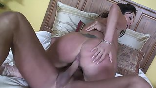 Brunette MILF Screwing Her Starving Clit on Bed in Different Styles