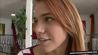 Redhead stepdaughter gets fucked by her stepdad