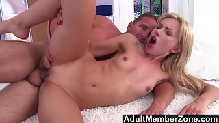 Lovely Sasha Rose Gets Her Pussy Rubbed by a Hunky Guy