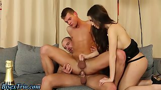 Hunky Dudes Licking Sexy Pussy While Drilling Asshole